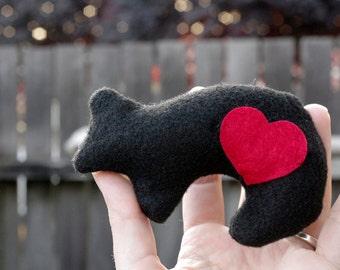 Black Bear Totem Plush, Bear plushie, Black Bear Stuffed Animal, Totem Animal, Bear with Heart