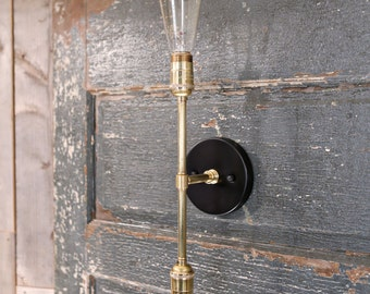 Wall Sconce in Raw Brass & Black - Twin Vertical Sconce Design