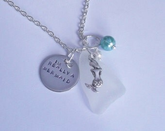 I'm really a mermaid  necklace. Mermaid jewelry - Sea glass necklace - Beach jewelry.