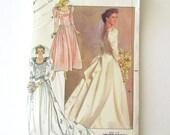 1980s Wedding Dress Pattern Butterick 4743 Bridesmaid Formal Dress Gown Sewing Pattern Basque WaistTrain Bustle Size 8 10 12 Bust 31.5-34