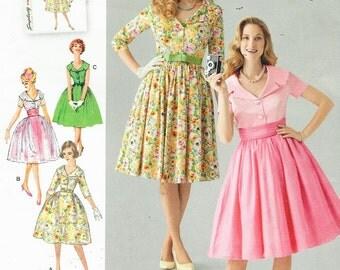 1950s Vintage Womens Rockabilly Dress Portrait Collar Simplicity Sewing Pattern 1459 Size 16 18 20 22 24 Bust 38 40 42 44 46 UnCut