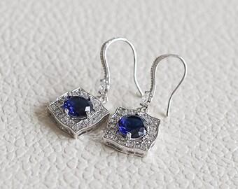 Wedding Earrings, BLUE Bridal Earrings, Crystal Dangle Earrings, Bridesmaid Earrings, Vintage Style Art Deco Halo Wedding Earrings, ANTONIA