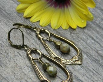 Dangle earrings bohemian drop earrings teardrop hoop earrings earthy unique beaded earrings beaded jewelry