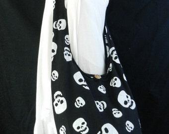 Skull Hipster Crossbody Bag Pirate Punk Rock Party Boho Hobo Shoulder Messenger Handbag XL and Small to Pick