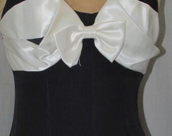 SALE 1980s Gown Vintage Clothing Black Tie Evening Wear Cocktail Dress Formal Wear Thigh Slit  Sleeveless Vintage Dress Sm