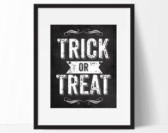 Trick or Treat Chalkboard Halloween Decor, Halloween Art Printable, Poem, Instant Download