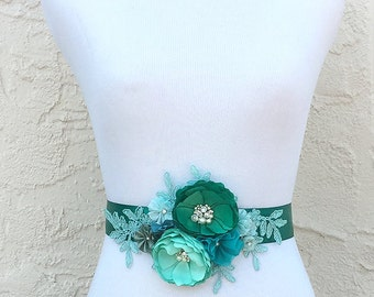 Jade Mint Sea Foam Green Blue Flowers with Swarovski Sew on Crystals & Pearls Sash for a Bride, Bridesmaid Special Event