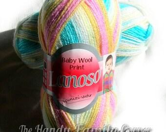 Baby print wool Lanoso yarn. Pastel baby colors (6103). Multicolored yarn. DSH