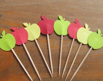 24 Apple Party Picks, Cupcake Toppers
