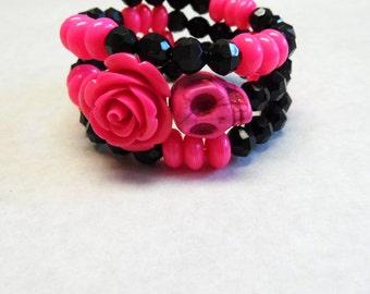 Day of The Dead Bracelet Sugar Skull Black Hot Pink Rose