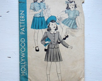 Hollywood Pattern 1054 -  1950s Girls Jacket and Skirt Pattern, Sz 2,  21 inch Breast