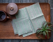 Linen Cocktail Napkins - Four Feathers in Mint