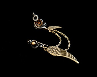 Steampunk Ear Cuff Piercing - Dangle Titanium Earrings - Winged Ear Wrap With Chain - Sterling Silver Jewelry - Steampunk Collection