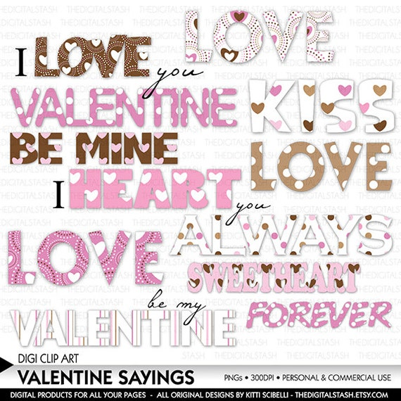 Valentine Sayings Clip Art - Words of Love - Pink and Brown - INSTANT DOWNLOAD - for Scrapbooking, Invites, Crafts, Collage, Cards, More