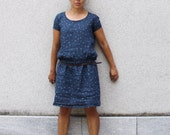 Women's linen dress low waist. Indigo crisp italian linen, ramie lining. Made in Italy. Sizes S to XL.