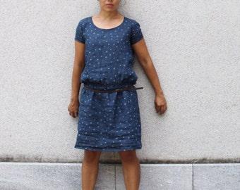 Women's linen dress low waist. Indigo crisp italian linen, ramie lining. Made in Italy. Sizes S to XL.