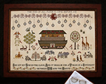 The Flood cross stitch pattern by Plum Street Samplers at thecottageneedle.com bible story two by two 2x2 noah's ark hand embroidery