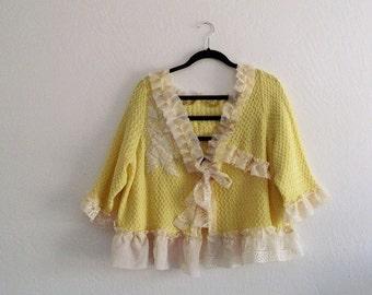Romantic Marie Antoinette inspired Bolero Plus Size Pastel yellow