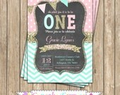 One First Birthday girl coral pink  mint gold PRINTABLE  chalkboard Invitation #2  chevron polka dot glitter 1st birthday 1031