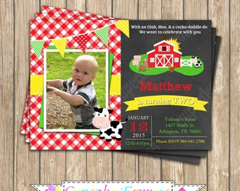 DIY Farm Old McDonald  Birthday Party  PRINTABLE Invitation  red barn chickens pig cow horse red yellow green Barnyard