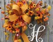 Wreath, Fall Letter Wreath, Wreath for Fall with Monogram, Harvest Sunflower Wreath, Fall Burlap Wreath, Thanksgiving, Halloween Decor