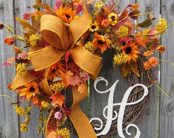 Wreath, Fall Letter Wreath, Wreath for Fall with Monogram, Harvest Sunflower Wreath, Fall Burlap Wreath, Thanksgiving, Halloween Decor