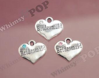 1 - Tibetan Silver Rhinestone Bridal Party Heart Tag Charms, Bridesmaid Charm, 16mm x 14mm (6-3E)