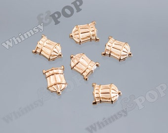 Gold Tone Bird Cage Floating Memory Charms, Cage Floating Charm, Memory Charm, 6mm x 9mm (4-6F)