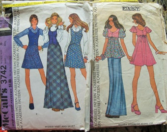 """x2 1970s SEWING PATTERNS - Simplicity Dresses, BELL Bottom Jeans, Vest, Maxi Skirt, Flutter Sleeves No.#3682 & 3742 from 1973.  Bust 32.5"""""""
