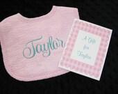 Personalized Bib  Baby Gift  Pink Seersucker Gingham   Select Thread