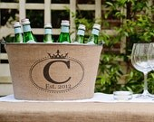 20% OFF! Personalized Burlap Wine Tub with Crown Oval Monogram - rustic wedding and party decor
