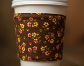 Reversible Coffee/Tea Cozy Sleeve, Thermally Insulated - Country Buttercup