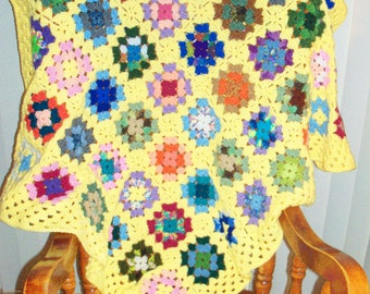 Granny Square Throw - Traditional Colorful Folk Art Blanket - Soft Hued Multi Color Granny Square Throw