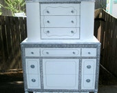 Reserved for Alley...Vintage White Highboy Dresser - Shabby Chic Painted Furniture