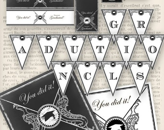 Graduation Party Pack Printable Party Pack diy school is out crafting instant download digital collage sheet - VDPPRE1103
