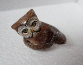 Miniature owl  paper clay sculpture totem no60