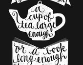 INSTANT DOWNLOAD - Tea and Books - C S Lewis Quote - Hand Lettering - 8x10 Illustrated Print by Mandy England