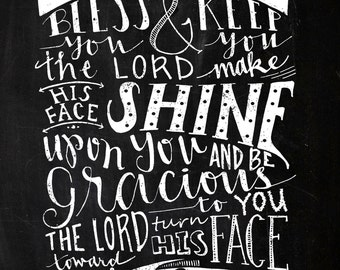 INSTANT DOWNLOAD - The Lord Bless You - Numbers 6:24-26 - Vintage Chalkboard Typography - 8x10 Hand Lettered Print by Mandy England