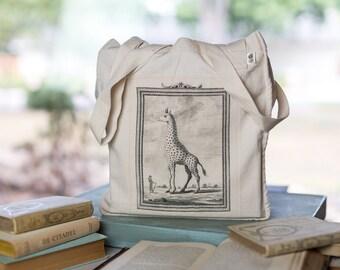 Giraffe Tote Bag, Organic Cotton Canvas Bag,  Buffon Illustration, Animal bag, Market Tote
