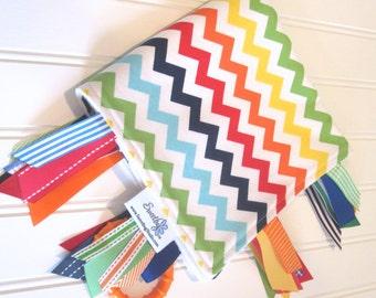 Sensory Ribbon Blanket,Lovey,Tag Blanket/Chevron Rainbow/Organic Cotton Fleece