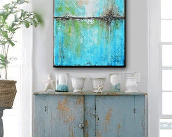 ART PRINTS Large Art Blue Abstract Painting Canvas Giclee Print Minimalist Home Decor Coastal Wall Decor Aqua Palette Knife SIZES- Christine