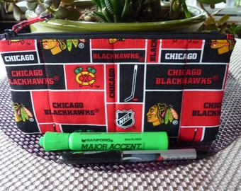Handcrafted Chicago Blackhawks Zipper Pencil Case/ Pouch/ Gadget Bag