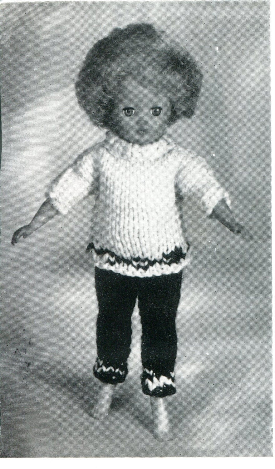 Knitting Pattern Barbie Jumper : 1960s Barbie Doll Size Knitted Trews & Sweater Pattern