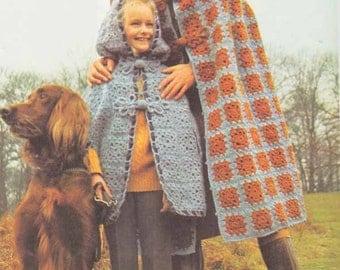 1960s Granny Square Cloak/Cape VINTAGE CROCHET PATTERN Boho/Romantic/Folk/Irish Hooded Cape for Adult & Child Pdf from GrannyTakesATrip 0285