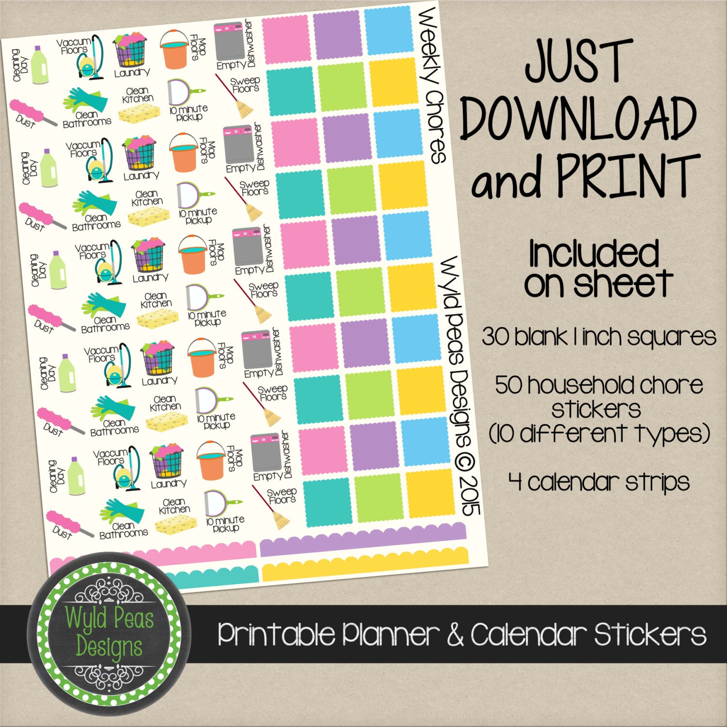 printable chore household planner stickers by wyldpeasdesigns