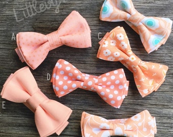 peach tie, floral bow tie, coral bow tie, peach bow tie, coral wedding, peach wedding, peach and mint