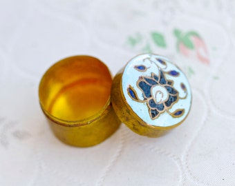 Snuff Box or Pill Box - Blue Enamel Flower Inlay - Cloisonne