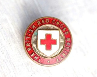 British Red Cross Society -  Vintage Brass and Enamel Badge - JR Gaunt London