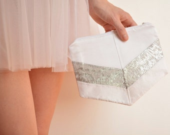 Bridal clutch bag white and silver silk One of a kind