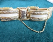 """Damascene Style Link Bracelet with Moonglow Acrylic Lucite Insets 7 1/2 """""""